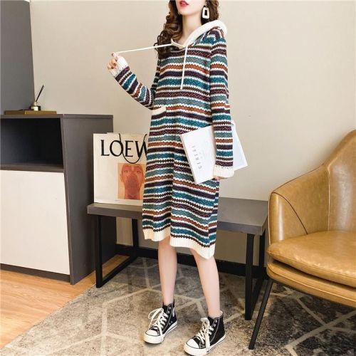 Women Sweater Long Dress Hooded Dress Warm Long Dress