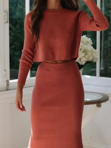 Two Piece Set Women Skirts Winter Suit Long Sleeve Crop Tops Knitted Skirt