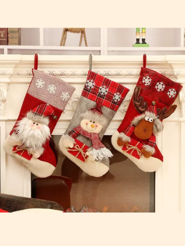 New Year Christmas Gift Candy Bag Sock Christmas Tree Decorations