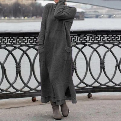 Vintage Women Autumn Winter Long Sleeve Lacework Hem Knit Maxi Dress