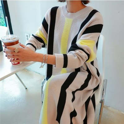 Autumn And Winter Women Loose Striped Casual Knit Dresses