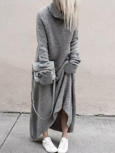 Sweater Dress Fashion Warm Turtleneck Long Sleeve Solid Dress