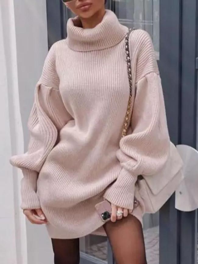 Knit Sweater Casual Lantern Sleeve Turtleneck Long Sleeves Sweater Dress