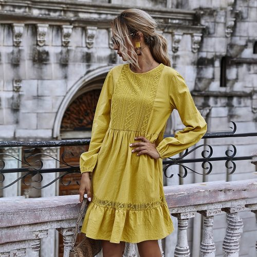 Autumn Winter Casual Lace Stitching Yellow Long Sleeve Loose Vintage Dresses