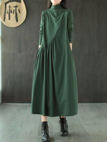 Autumn Winter Dress Casual Long sleeve Shirt Turtleneck Cotton Vintage
