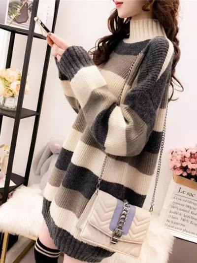 Long Sleeve Autumn Winter Sweater Dress Women Turtleneck Stripe Casual Knit