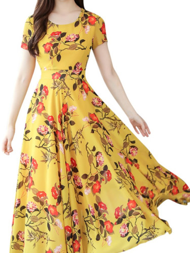 New Chiffon Short Sleeve Floral Print Boho Slim Women Long Dress
