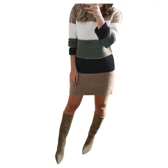 Women Knit Sweater Long Sleeve Package Hips Party Mini Dress