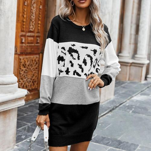 Women's Long Sleeves Causal Loose Round-Neck Tuinc Leopard Tops Basic Dress