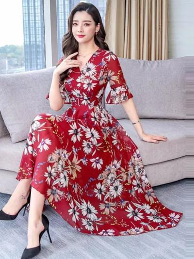 Fashion Boho Party Printed Slim A-line Dresses