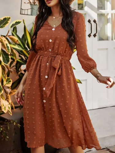 Chiffon Dress Fashion Brown Vintage Ladies Button Sashes Long Dresses