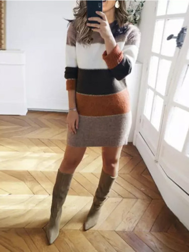 Women Knit Sweater Long Sleeve Package Hips Party Mini Dress