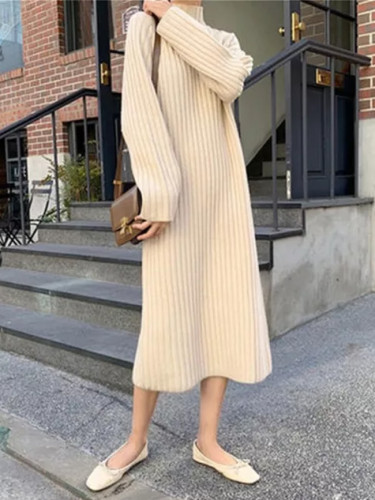 Women's Slim Half turtleneck Bottoming Sweater Knitted Dress