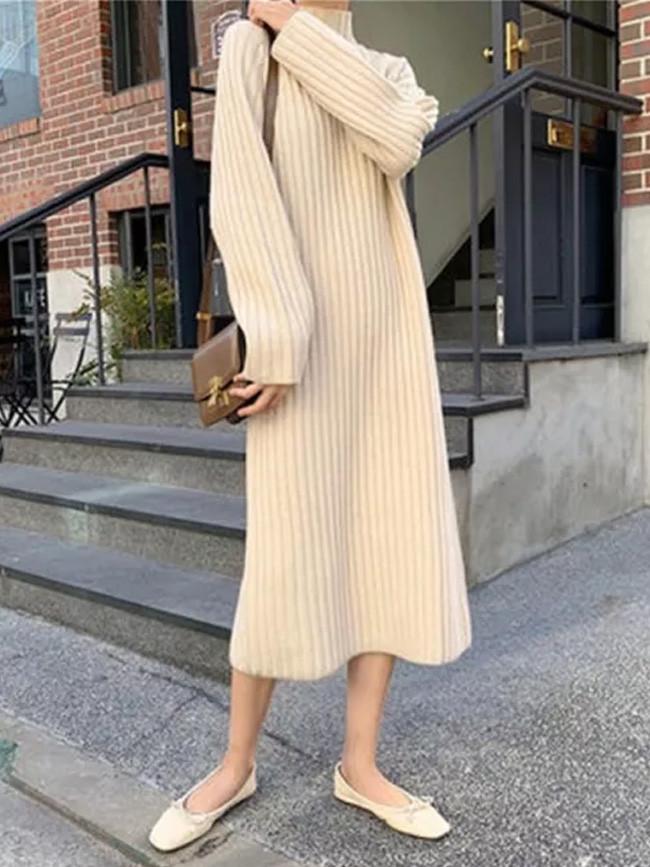 Women's Slim Half turtleneck Bottoming Sweater Knitted Dress