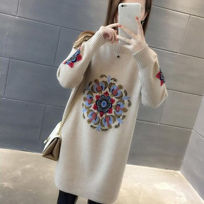 Winter Women Knitted Pullovers Sweater  Embroidery Long Sweater Dress