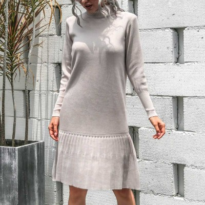 Turtleneck Warm knit dress Loose Solid Color Hem Ruffles Bottoming