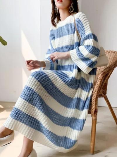 Stripe Crew Neck Pullover Sweater Vintage Long Knit Dress Female