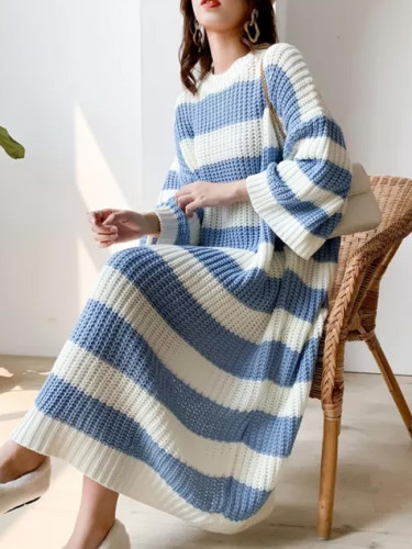 Stripe Crew Neck Pullover Sweater Vintage Long Knit Dress Female