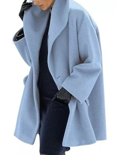 Winter Wool Blend Shawl Collar Open Stitch Loose Coat Female Casual