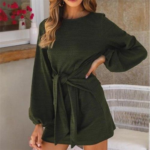 Casual Long Lantern Sleeve O-Neck Tie Waist Sweater Dress
