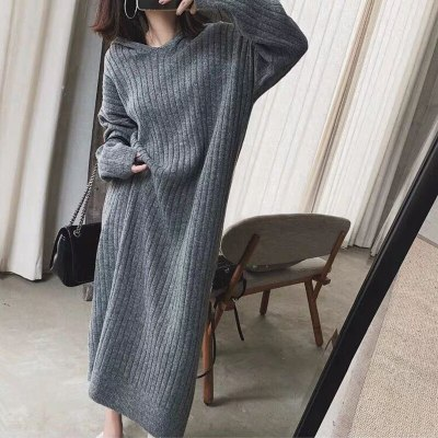 Woman Sweater Dresses Long Sleeve Hooded Clothes
