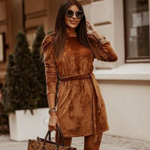 Winter Long Puff Sleeve Velvet Dress For Women
