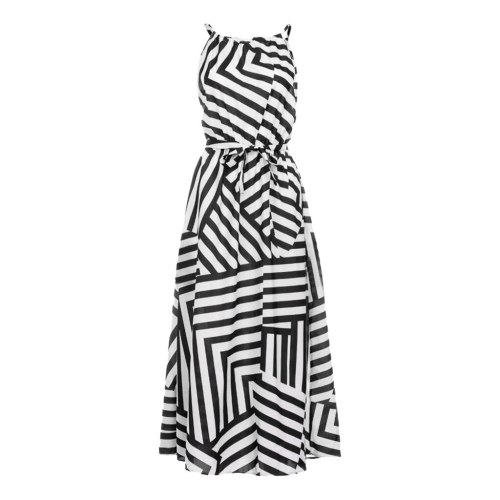 Women Evening Party Beach Sundress Ladies Loose Striped Long Dress