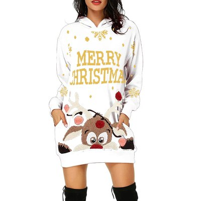 Lady Winter Fashion Casual Christmas Hoodie Sweater Dress