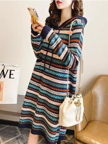 Women Sweater Long Dress Hooded Dress Warm Long Dress