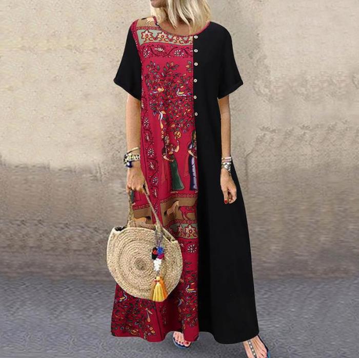 Women Bohemian Vintage Printed Patchwork Short Sleeve Cotton Linen