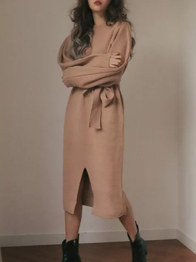 Spring New Women Solid Long Sleeve Bow Slit Thick Knit Dress