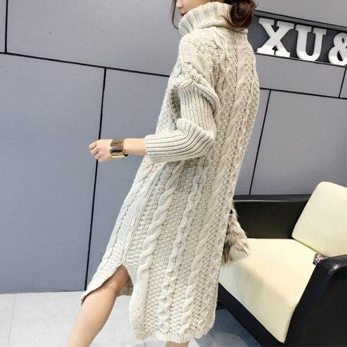 Turtleneck Warm Long Sweater Women Long Sleeve Knitted Pullover
