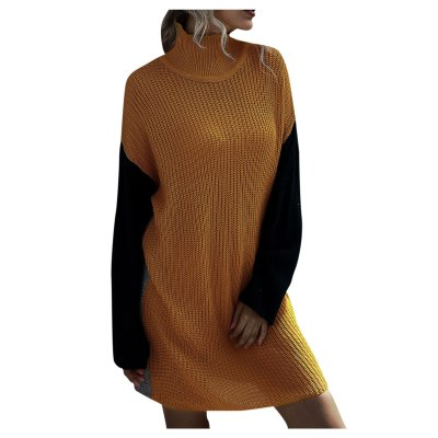 Ladies Round Neck Long Sleeve Fashion Color Block Sweater Slim Pullover Knitted Dress
