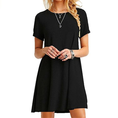 Women Dress Short Sleeve Casual Loose Dress Plus Size Dress