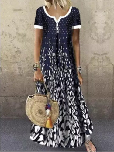 Printing Sexy Dress Casual Loose Short Sleeve printed Long Maxi Dress