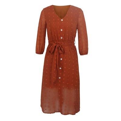 Chiffon Dress Fashion Brown Vintage Ladies Button Sashes Long Dresses