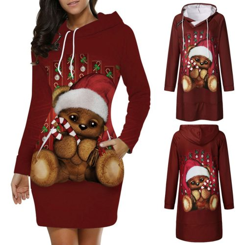 Fashion Long Sleeve Hooded O-Neck Christmas Santa Claus Dress