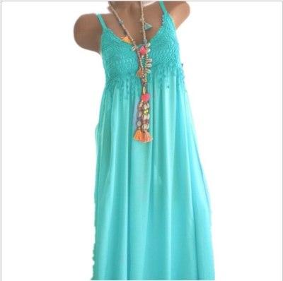 Casual Cotton Dress Tassels Lace Patchwork  Beach Dresses