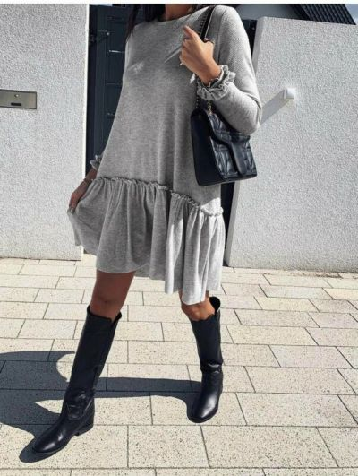 Long Sleeve Warm Loose Mini A-Line Casual Ladies Lace Frill Dress