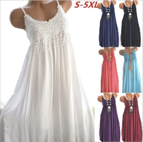 Casual Cotton Dress Tassels Lace Patchwork  Beach Dresses