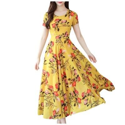 New Chiffon Short Sleeve Floral Print Boho Slim Women Long Dress