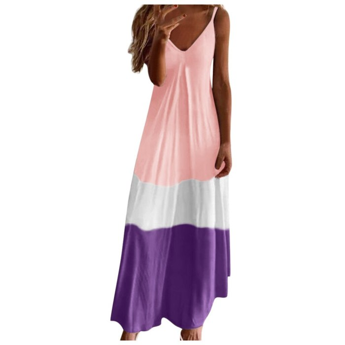Long Robe Slip Sundresses Pink Casual Ladies Dresses