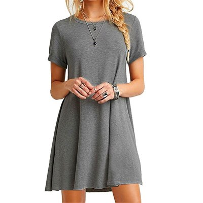Women Dress Short Sleeve Casual Loose Dress Plus Size Dress