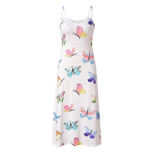 Butterfly Print Women V-Neck sleeveless  Camisole Sexy Long Dress