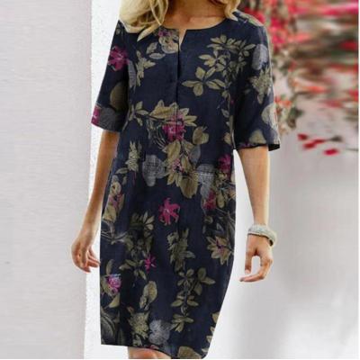 Printing Knee Party Dress Women Long Sleeve Dresses