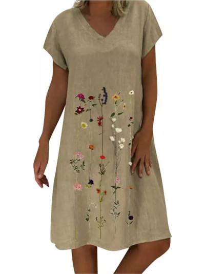 Fashion Women  Boho Dresses Colorful Print Sleeves Casual Dress