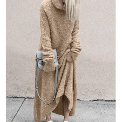 Sweater Dress Fashion Warm Turtleneck Long Sleeve Solid Dress