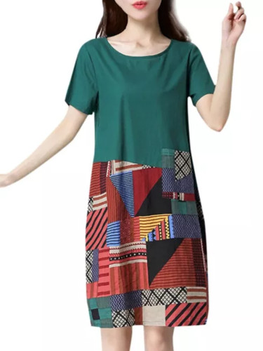 Women Casual Cotton Linen o Neck Short Sleeve Loose Print Dress Vestidos