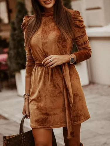 Winter Long Puff Sleeve Velvet Dress For Women