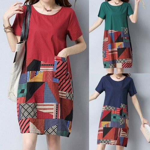 Women Casual Cotton Linen o Neck Short Sleeve Loose Print Dress Vestidos